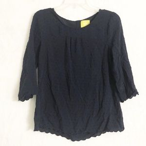 Anthropologie Maeve Swiss Dot Navy Blouse 8